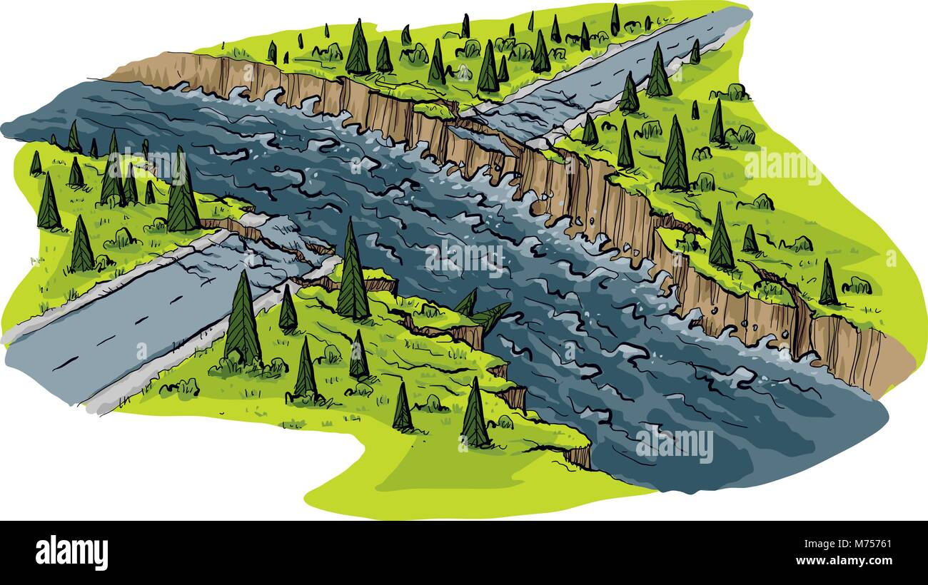 A cartoon scene of a road that has been washed out by raging flood waters. - Stock Vector