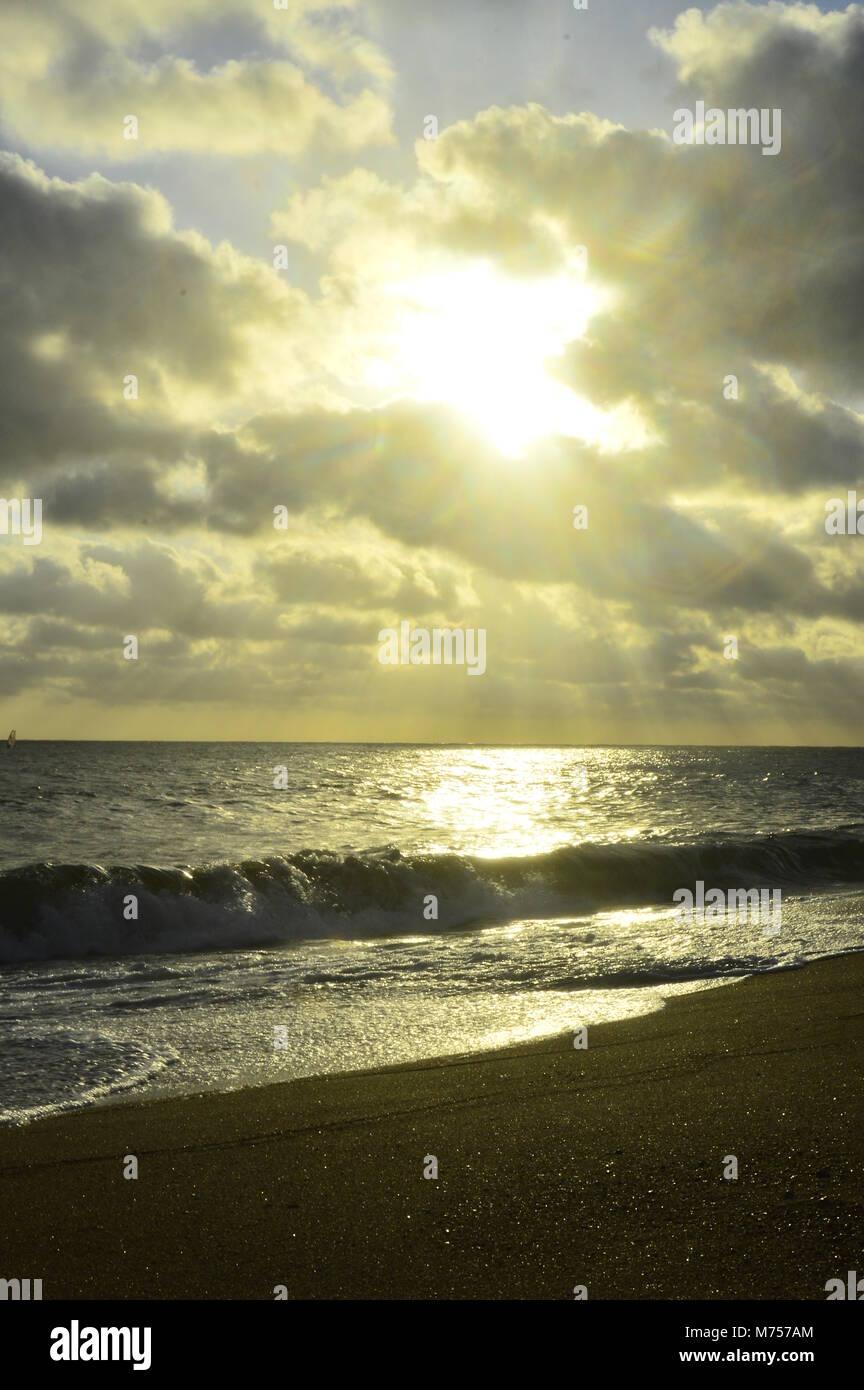 Punta del este sunset on the beach. Uruguay - Stock Image