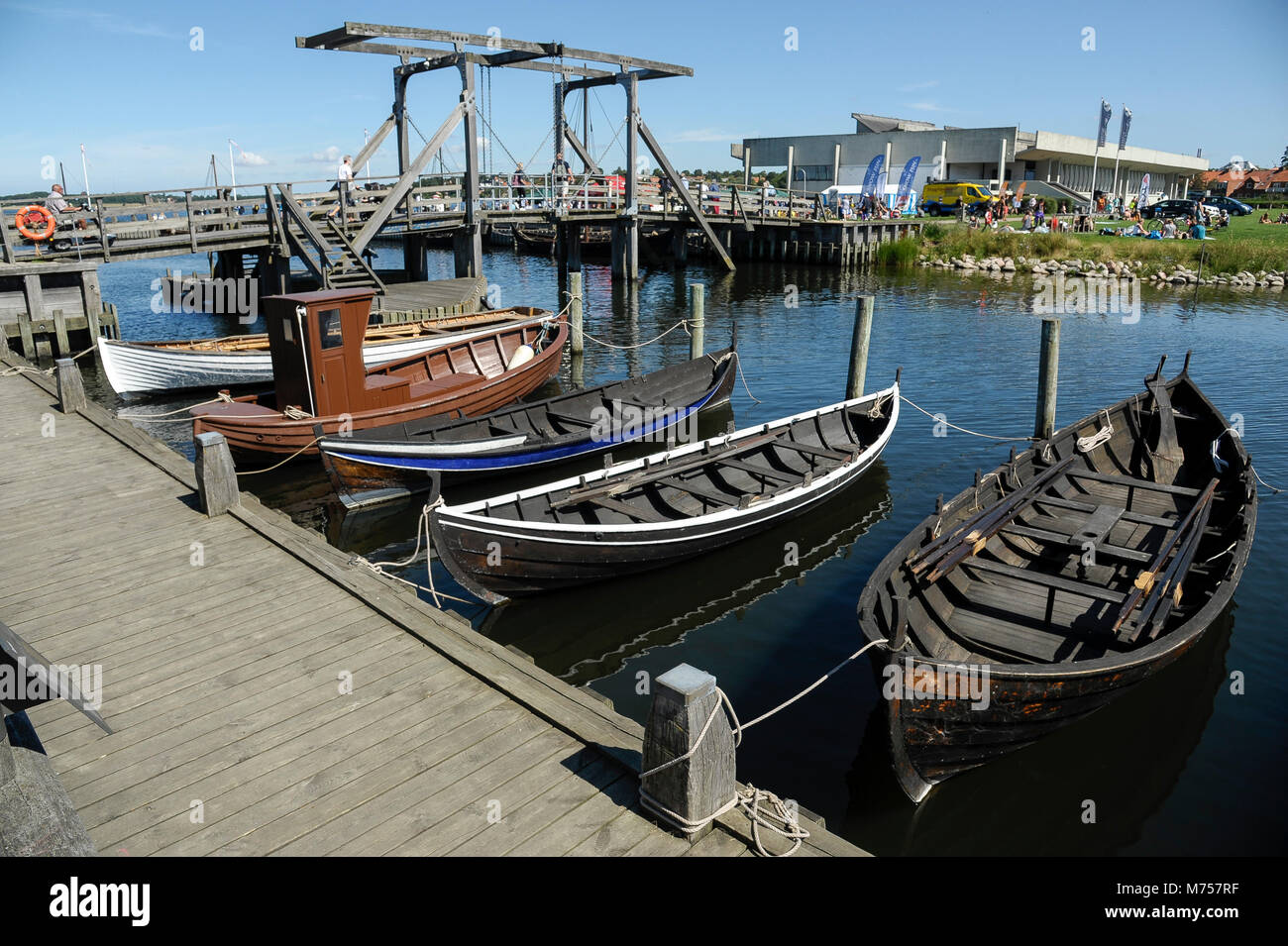 Collection of authentic historic boats from Scandinavia and full scale navigable reconstructions of Viking ships Stock Photo