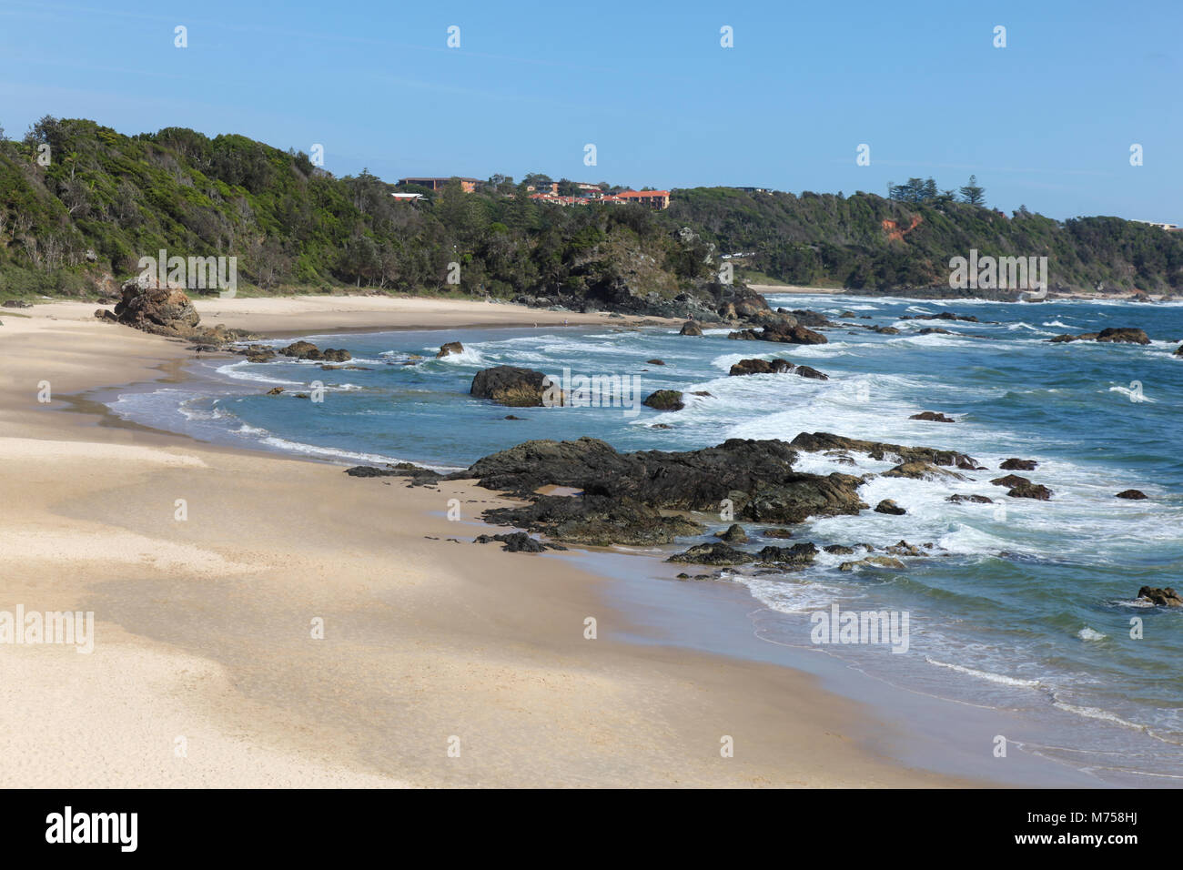 Nobby Beach in Port Macquarie on the NSW Mid-north coast - Australia. There are many beautiful beaches in the area - Stock Image