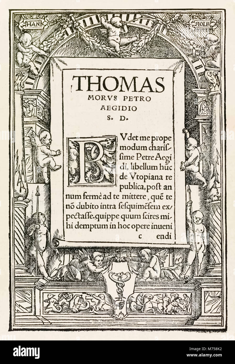 Dedication page from the 1518 Basel third edition of 'Utopia' by Sir Thomas More (1478–1535) first published in - Stock Image