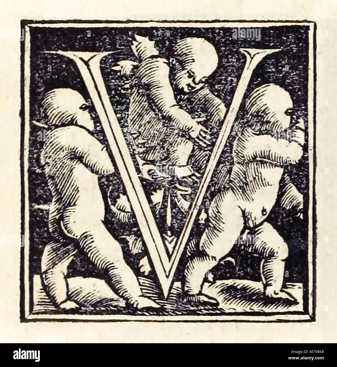 Illuminated 'V' from the 1518 Basel third edition of 'Utopia' by Sir Thomas More (1478–1535) first published - Stock Image