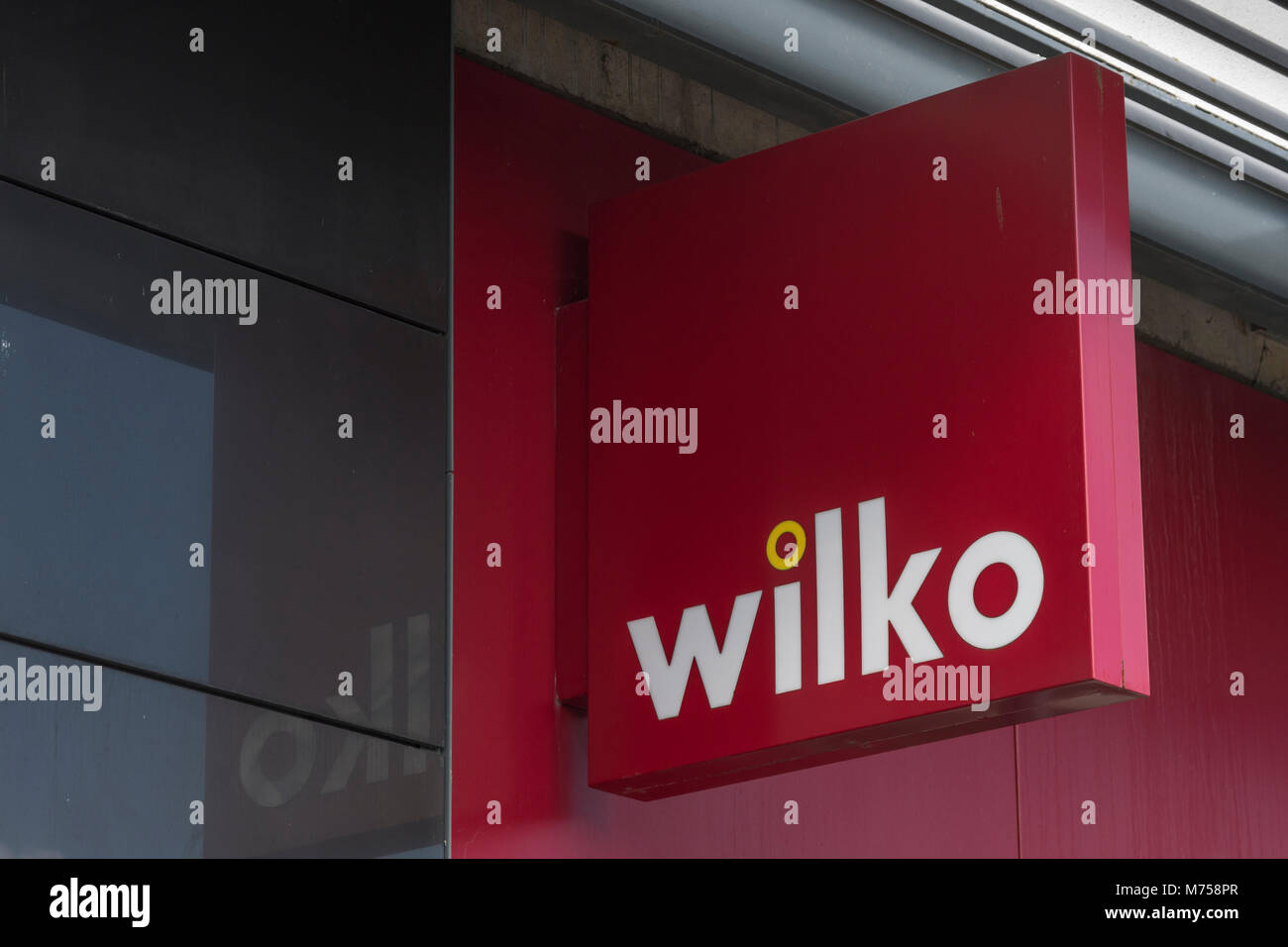Logo of the legendary high street household essentials store Wilko, or Wilkos. At. St. Austell, mid-Cornwall. Stock Photo