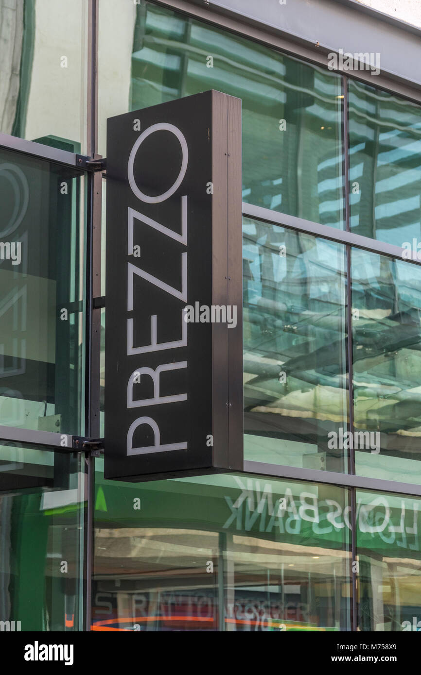 Front of Prezzo restaurant is St. Austell, Cornwall, soon after Prezzo announced it was having financial troubles. Stock Photo
