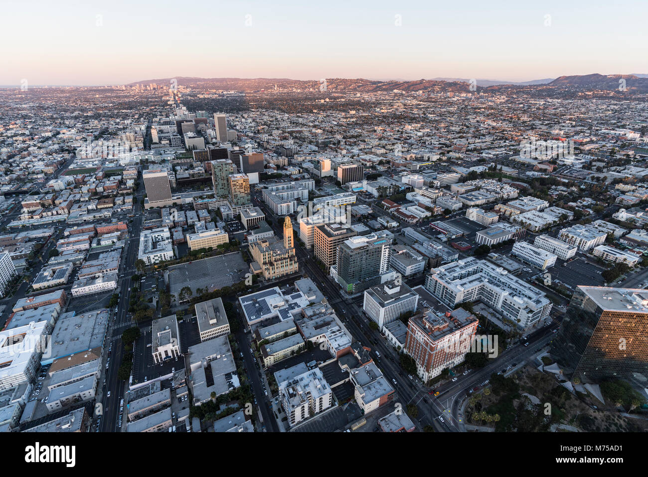 Early morning aerial view down Wilshire Blvd in the Koreatown area of Los Angeles California. - Stock Image
