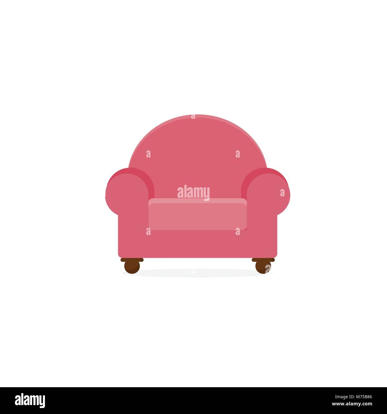 Pink Single Seat Comfort Sofa Furniture Vector Illustration Graphic