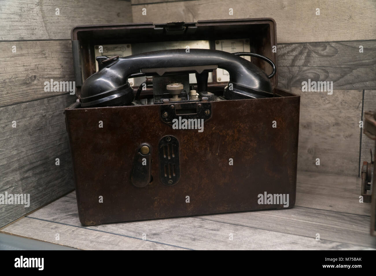 Artefact German military telephone  on display at War Tunnells,Jersey,Channel Islands - Stock Image