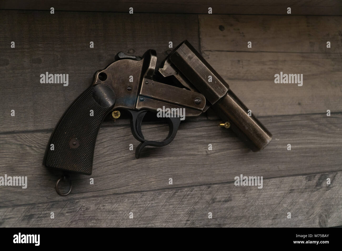 Old German army,Third Reich military flare gun on display at War Tunnells,Jersey,Channel Islands - Stock Image