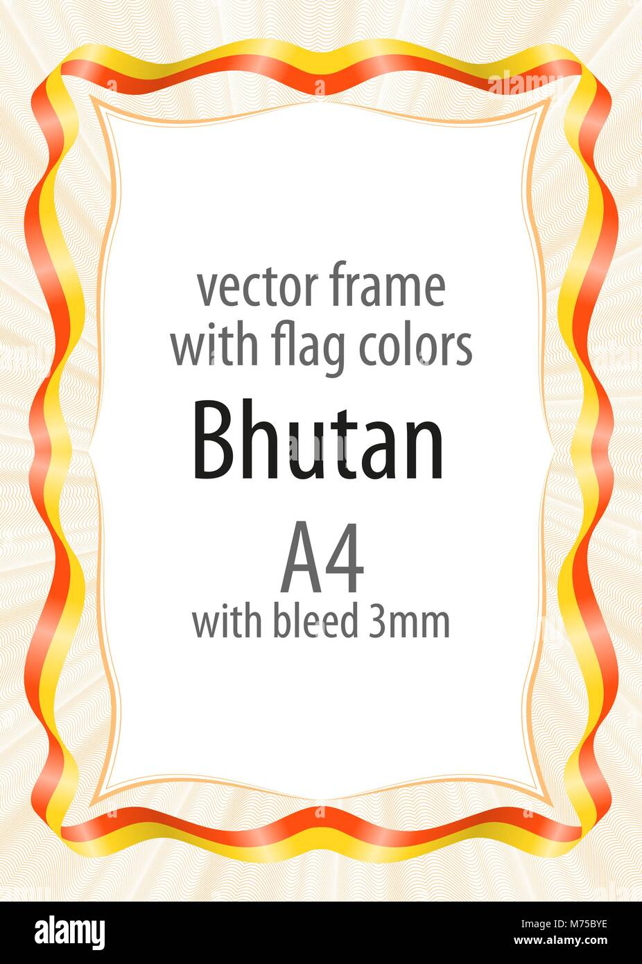Frame and border of ribbon with the colors of the Bhutan flag - Stock Vector