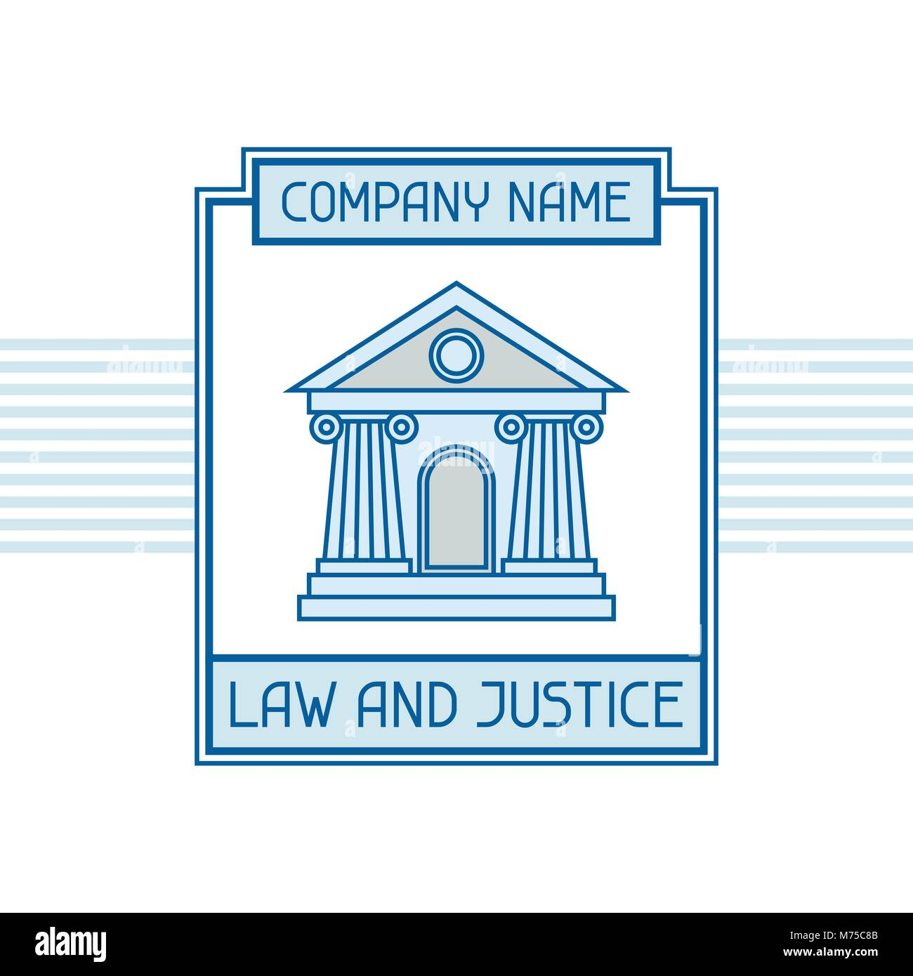 Law and justice company name concept emblem - Stock Vector
