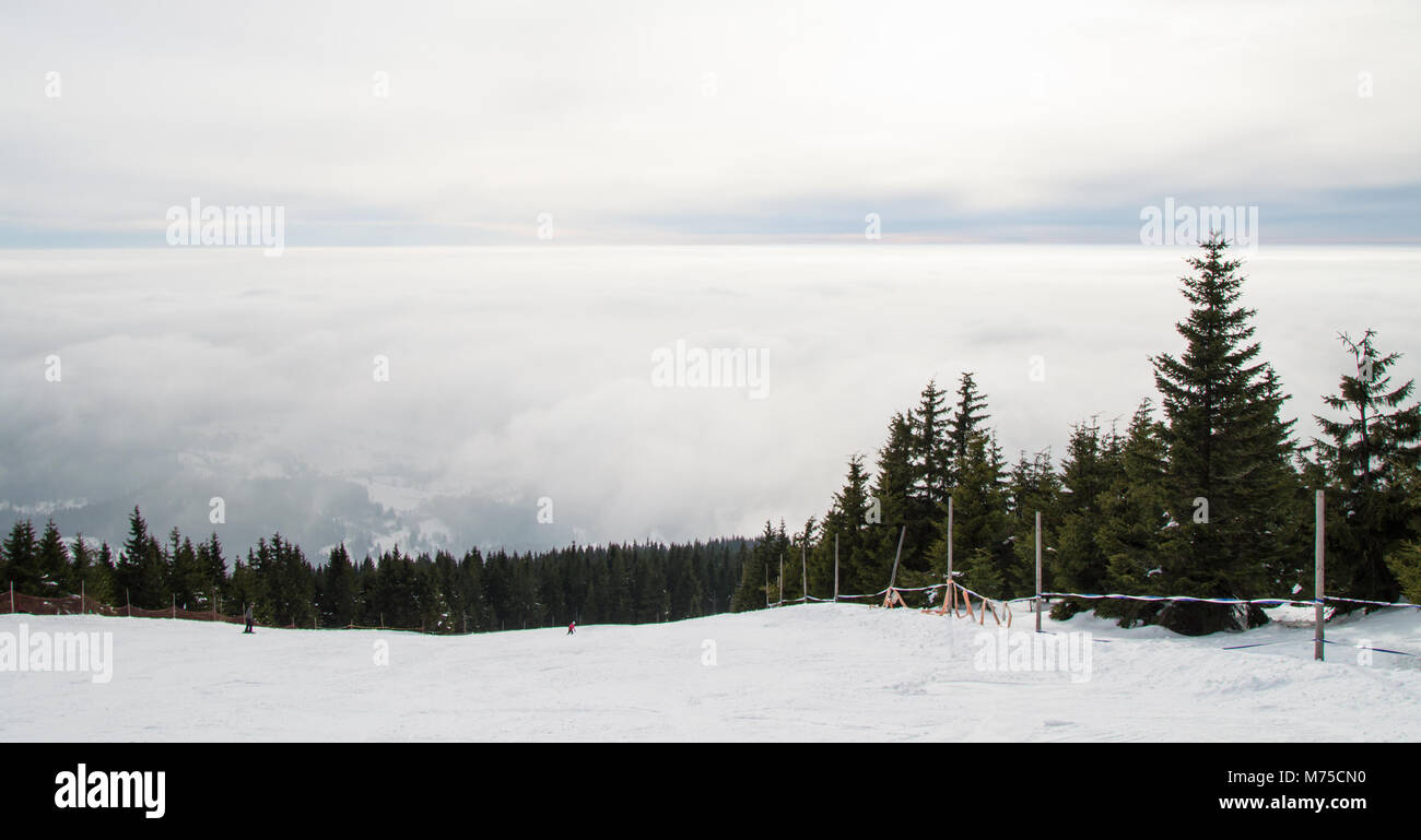 The top of the hill in the ski resort in Krkonose - Stock Image