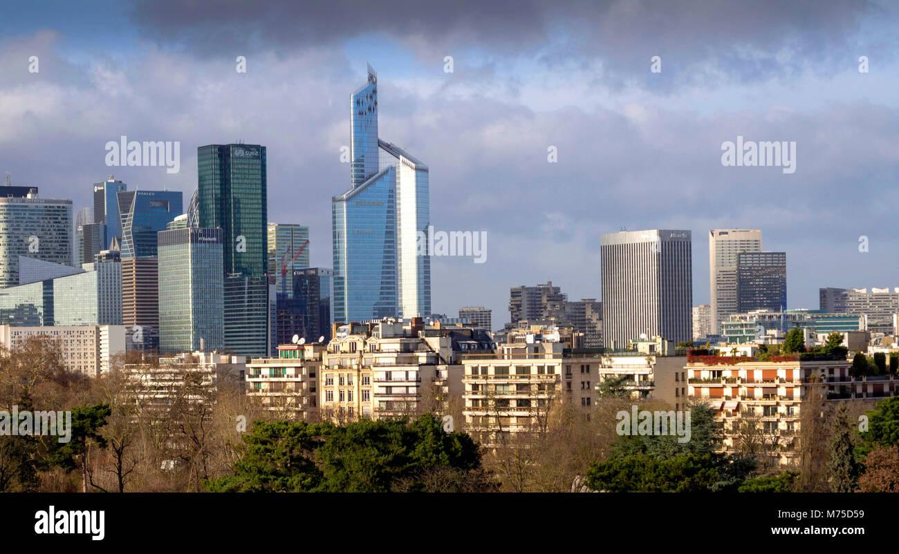 View on Financial district of La Defense. Paris. France - Stock Image