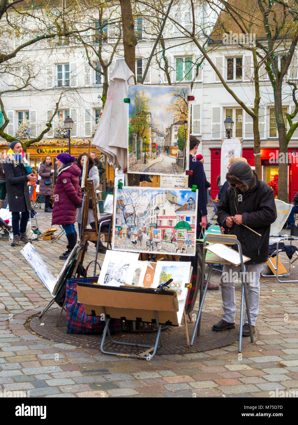 Paris 18 arr. Street artist in Place du Tertre, Montmartre, Paris, France - Stock Image