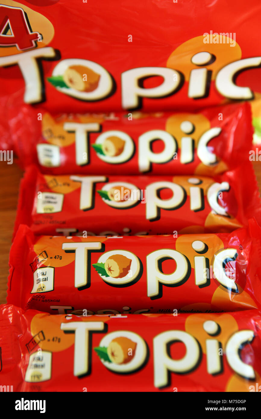 Topic chocolate bars product of Mars, Incorporated - Stock Image