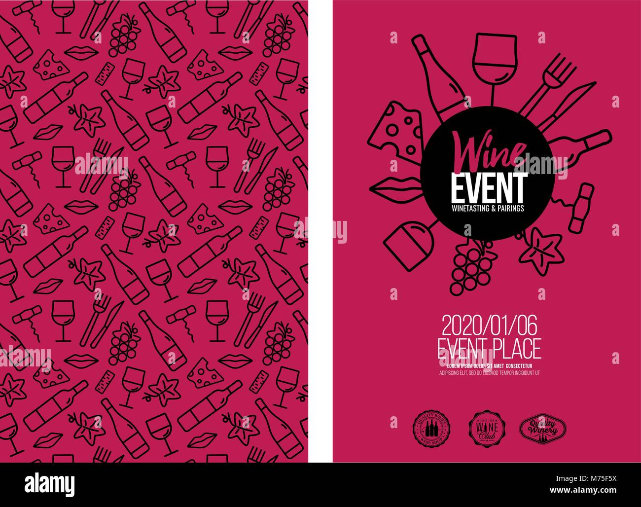 template design with wine icons pattern background. Idea for your food and drink designs. Flat colors. Vector illustrations. Stock Vector