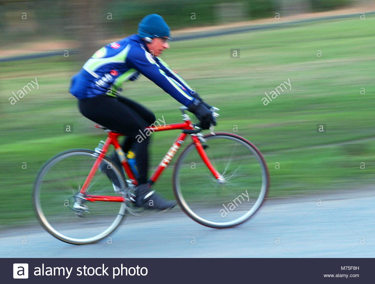 File photo dated 01/03/04 of a cyclist, as the Department for Transport (DfT) has said that there is a strong case Stock Photo