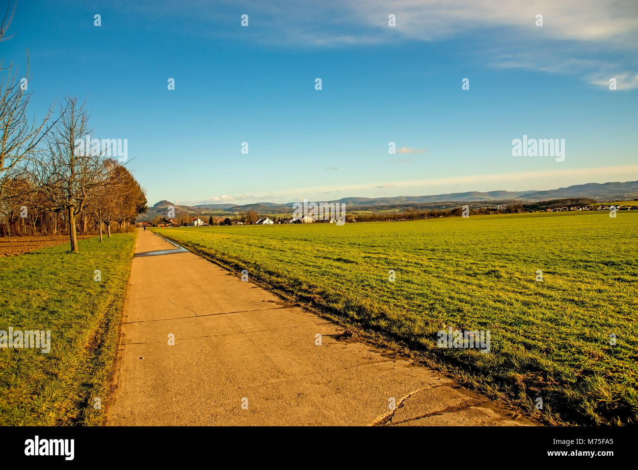 country idyll with view to German highlands - Stock Image