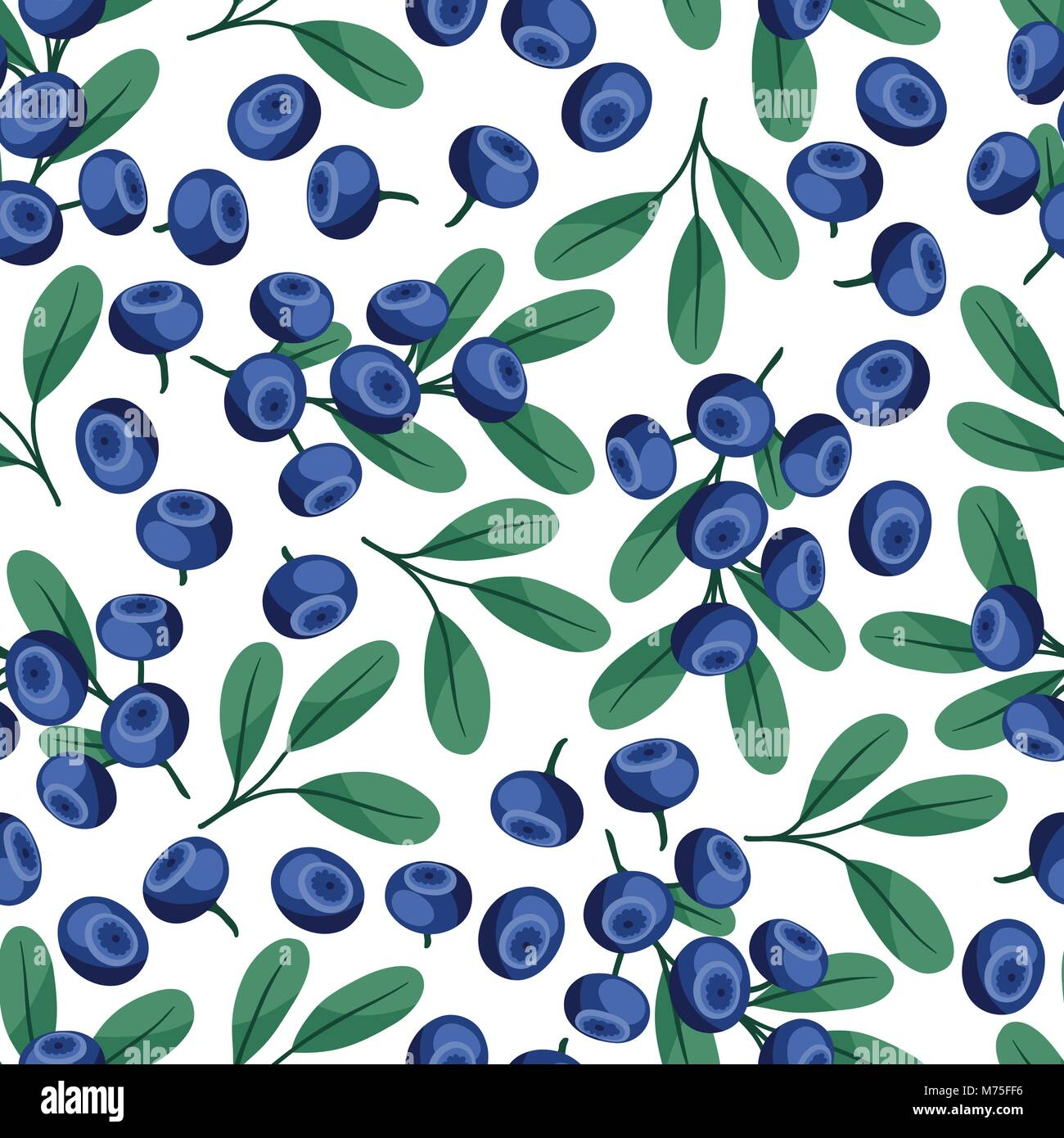Seamless nature pattern with blueberries. - Stock Vector