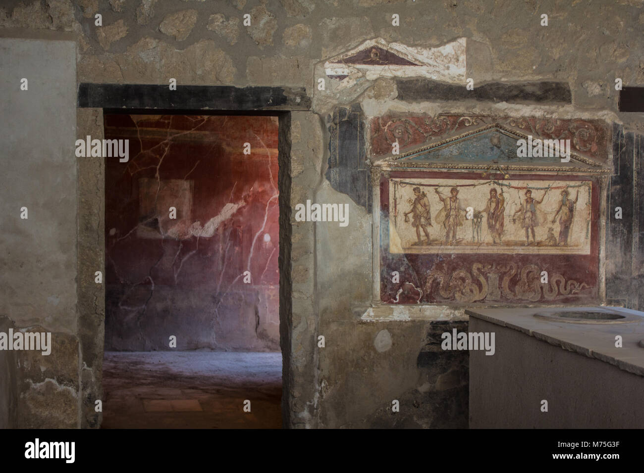 Mural On The Wall Inside A House In Pompeii, Italy