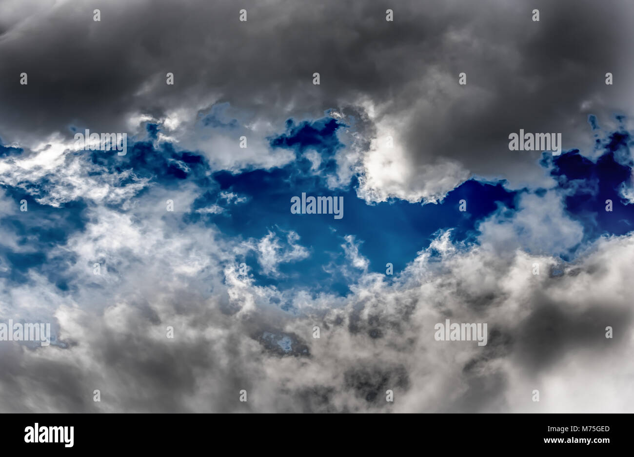 Cloudy blue sky abstract background - Stock Image