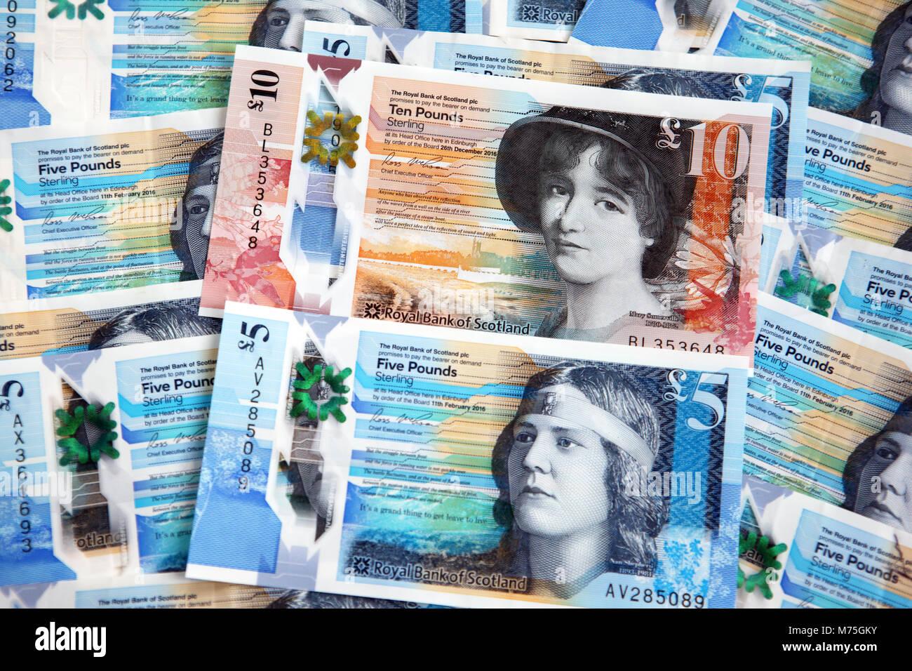 Scottish five pound notes - Stock Image