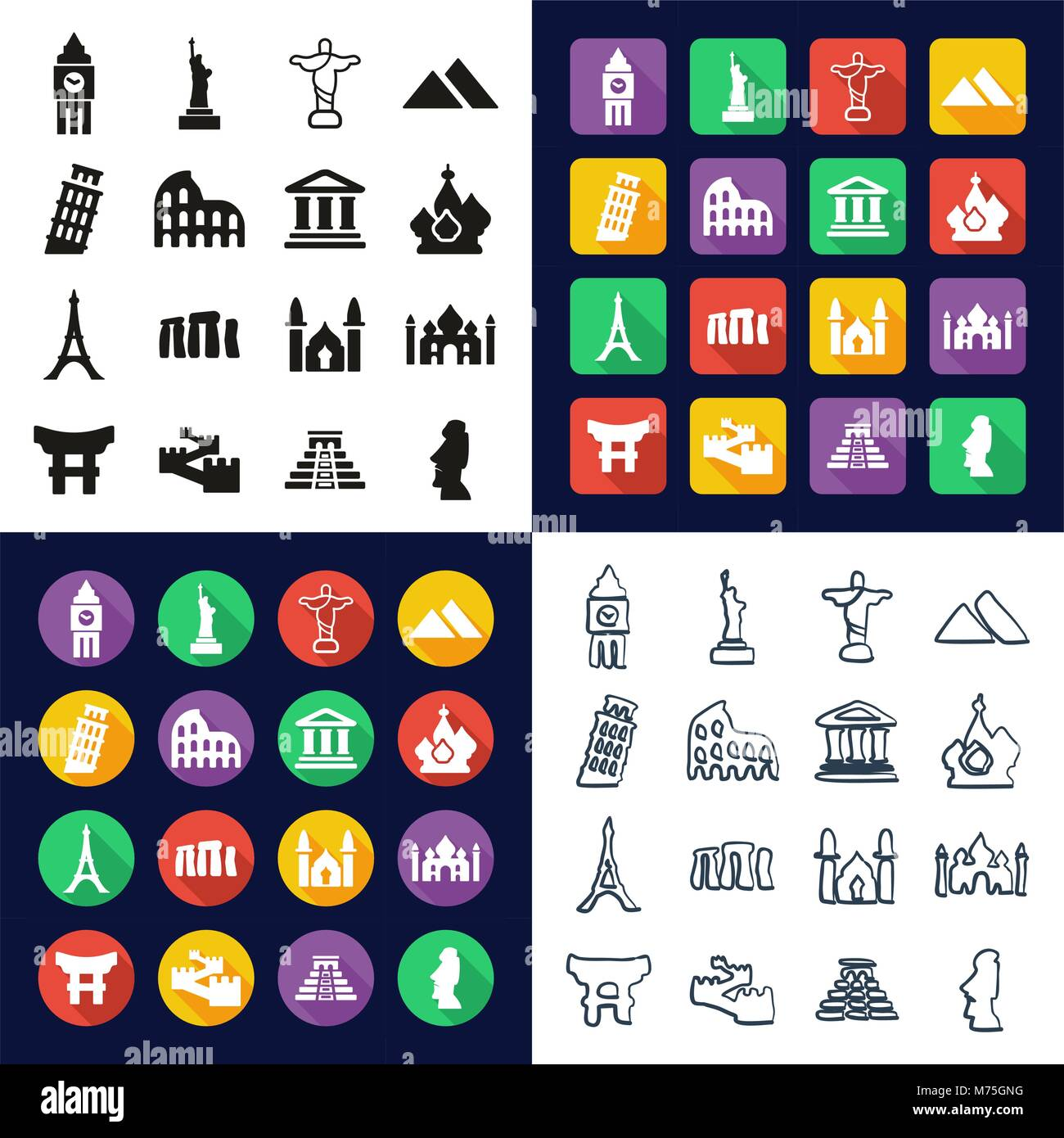 Landmarks Of The World All in One Icons Black & White Color Flat Design Freehand Set Stock Vector