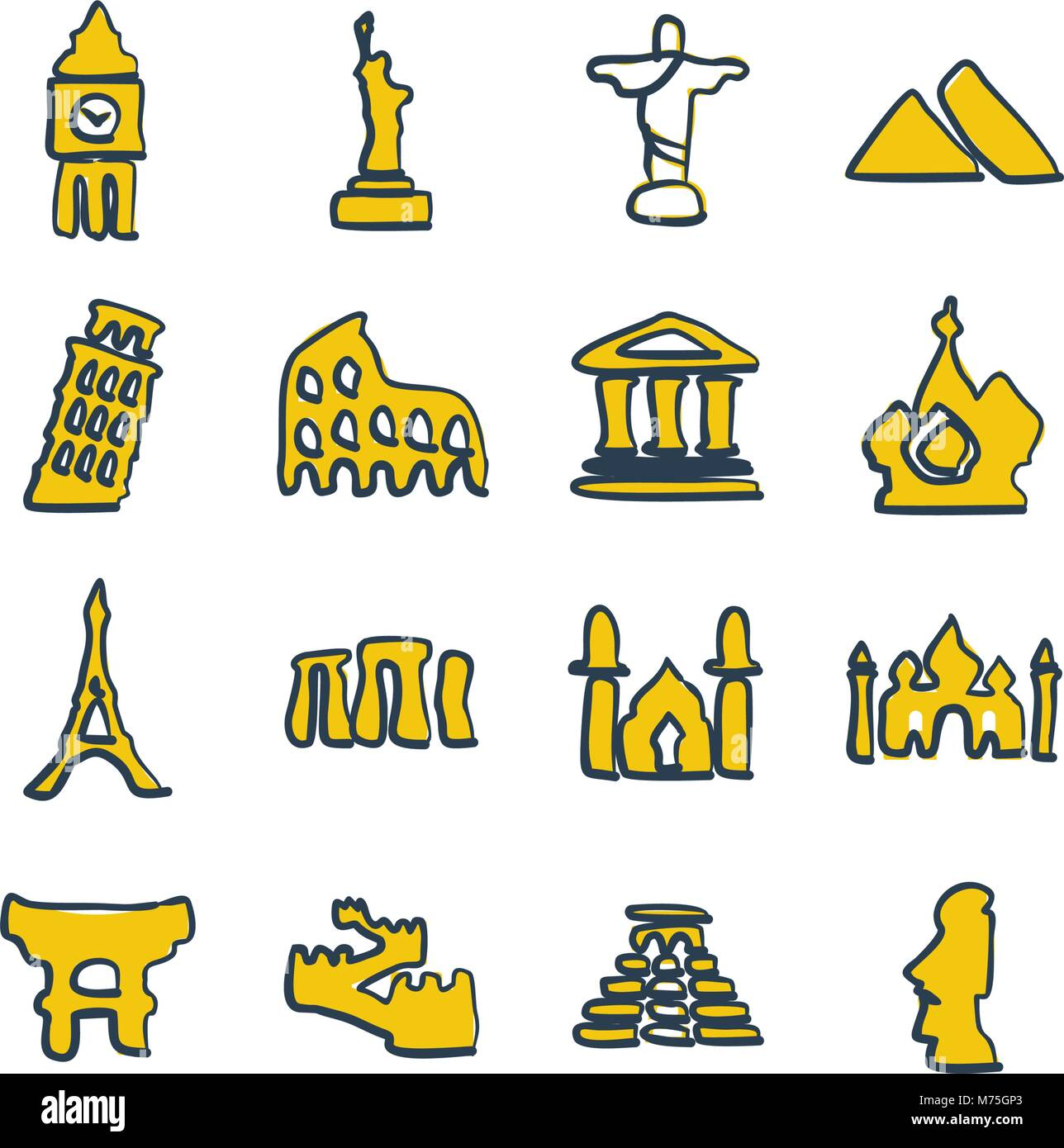 Landmarks Of The World Icons Freehand 2 Color Stock Vector