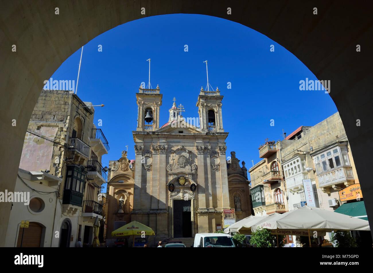 St George's Basilica, St Georges square, Victoria, Gozo, Malta - Stock Image
