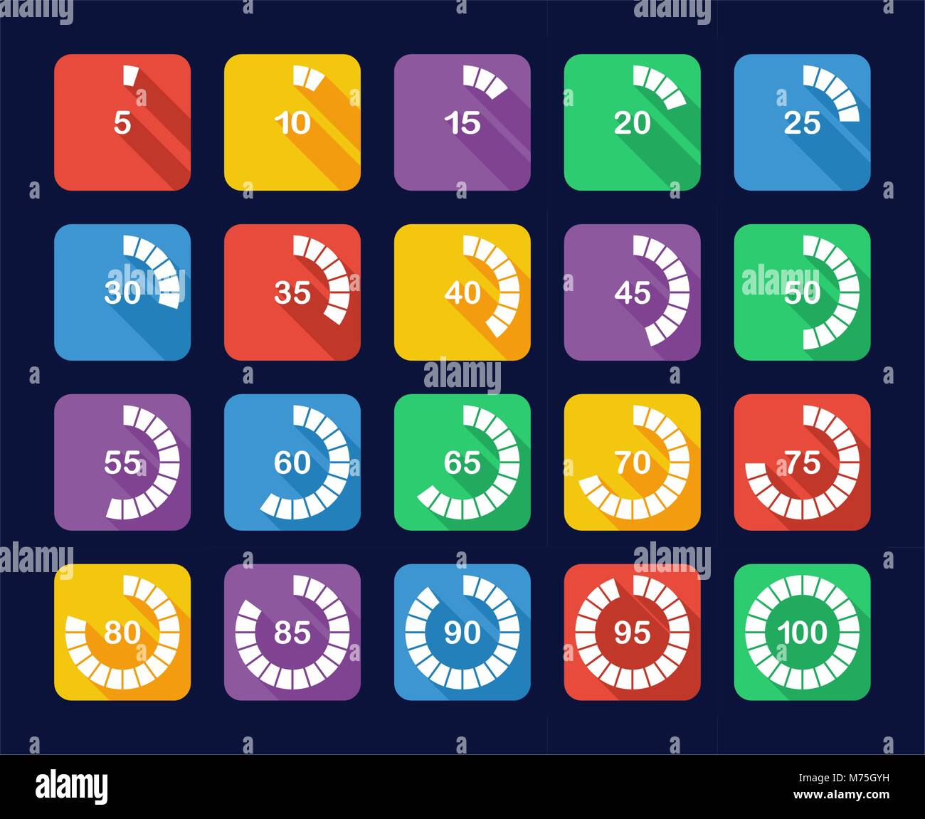 Loading Or Percentage Icons Set - Stock Vector