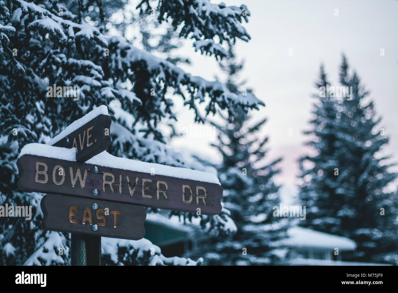 Street Sign in a Canadian Winter Stock Photo