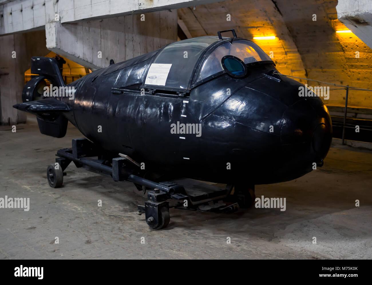 Balaklava, Russia - November 14, 2015: Super small submarine 'Triton', an underground museum complex Balaklava, - Stock Image