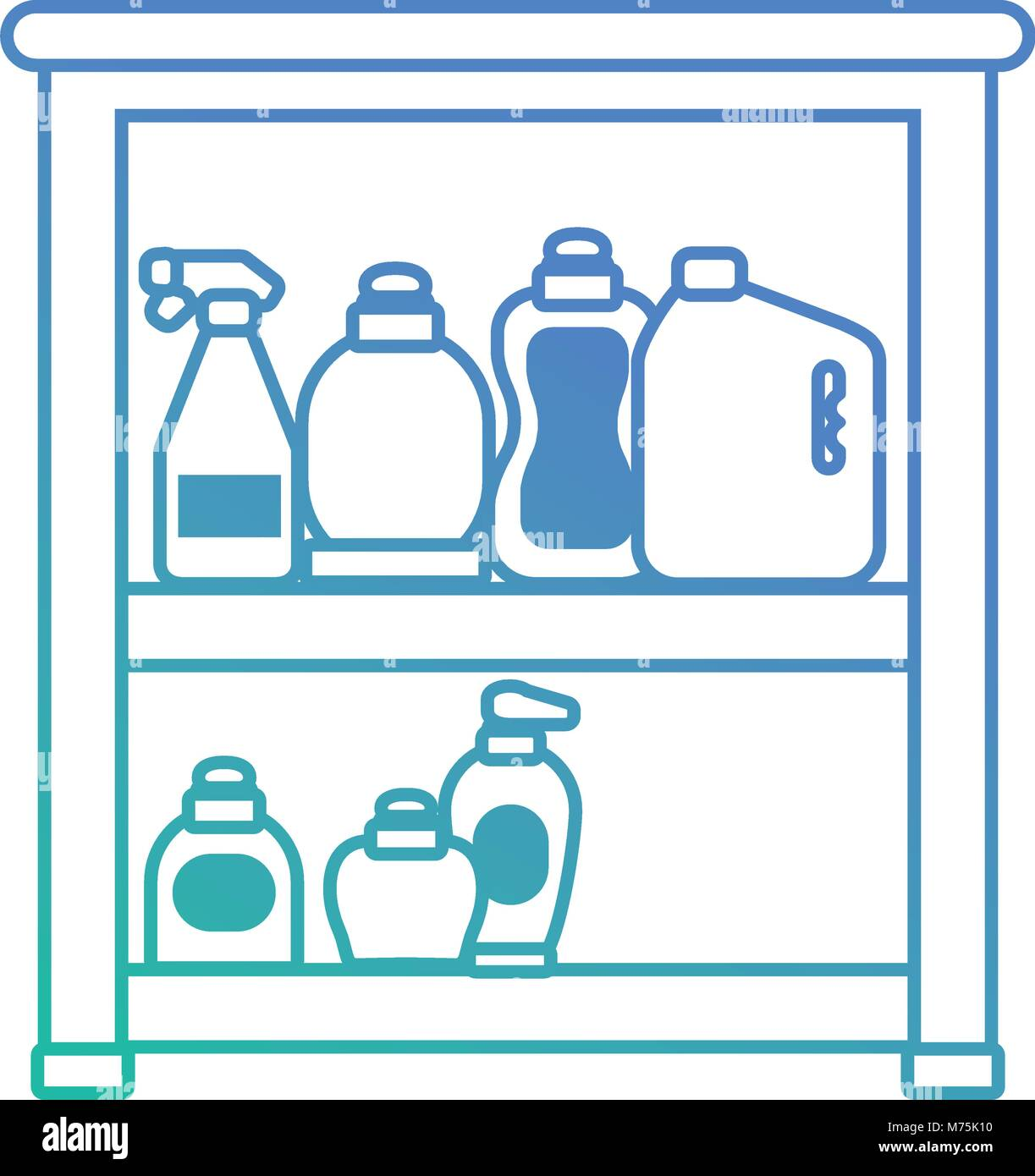 flat line blue bathroom shelf with beauty products vector Stock ...