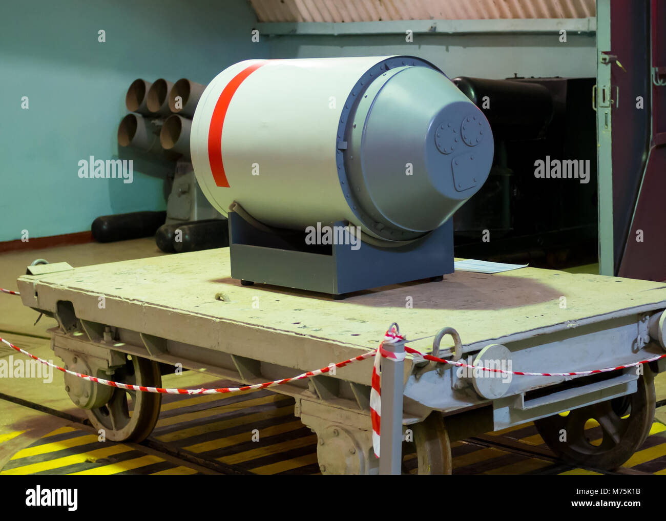 Balaklava, Russia - November 14, 2015: Layout nuclear warhead torpedoes on object 820 RTB: local area nuclear arsenal, - Stock Image