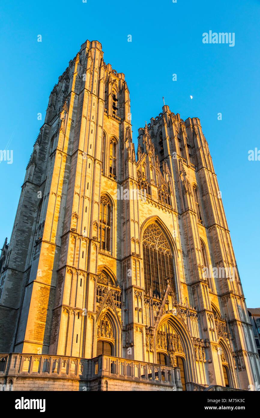 Church Cathedrale des Saints Michel et Gudule, Steeples, Brussels, Belgium - Stock Image