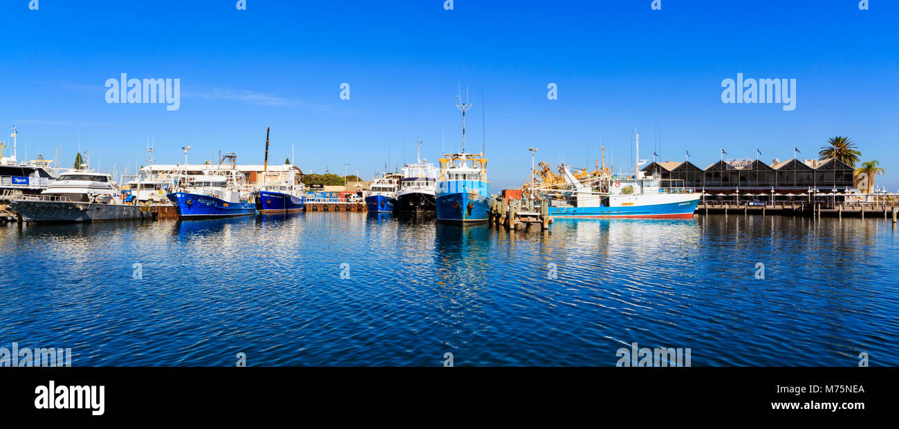 Fremantle Fishing Boat Harbour and Kailis Fish Market Cafe. Fremantle, WA - Stock Image