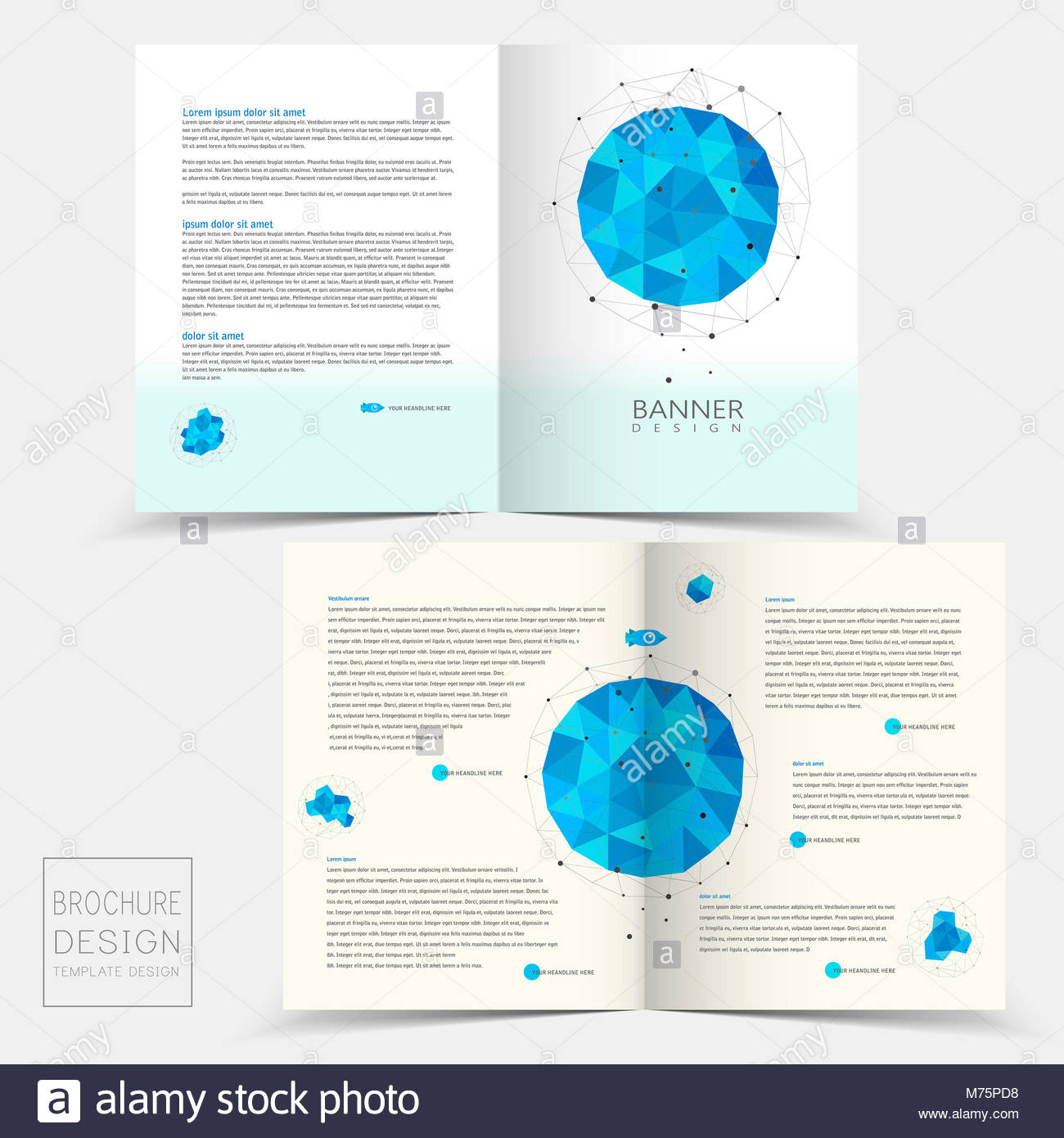 half fold brochure template design with geometric blue crystal stock