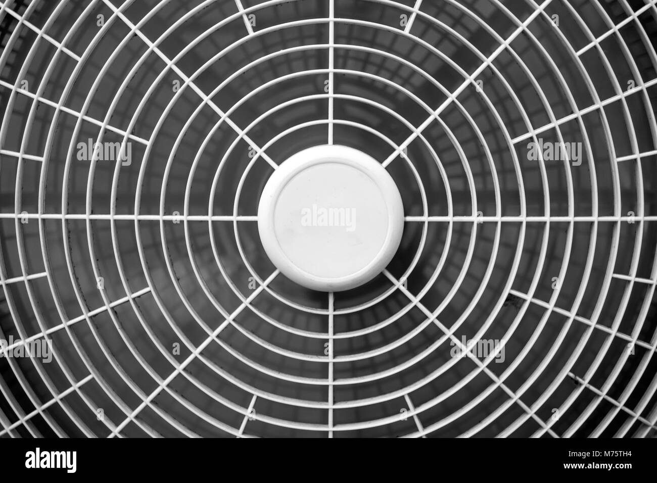 Moving blades in electric fan using on very hot day in summer - Stock Image