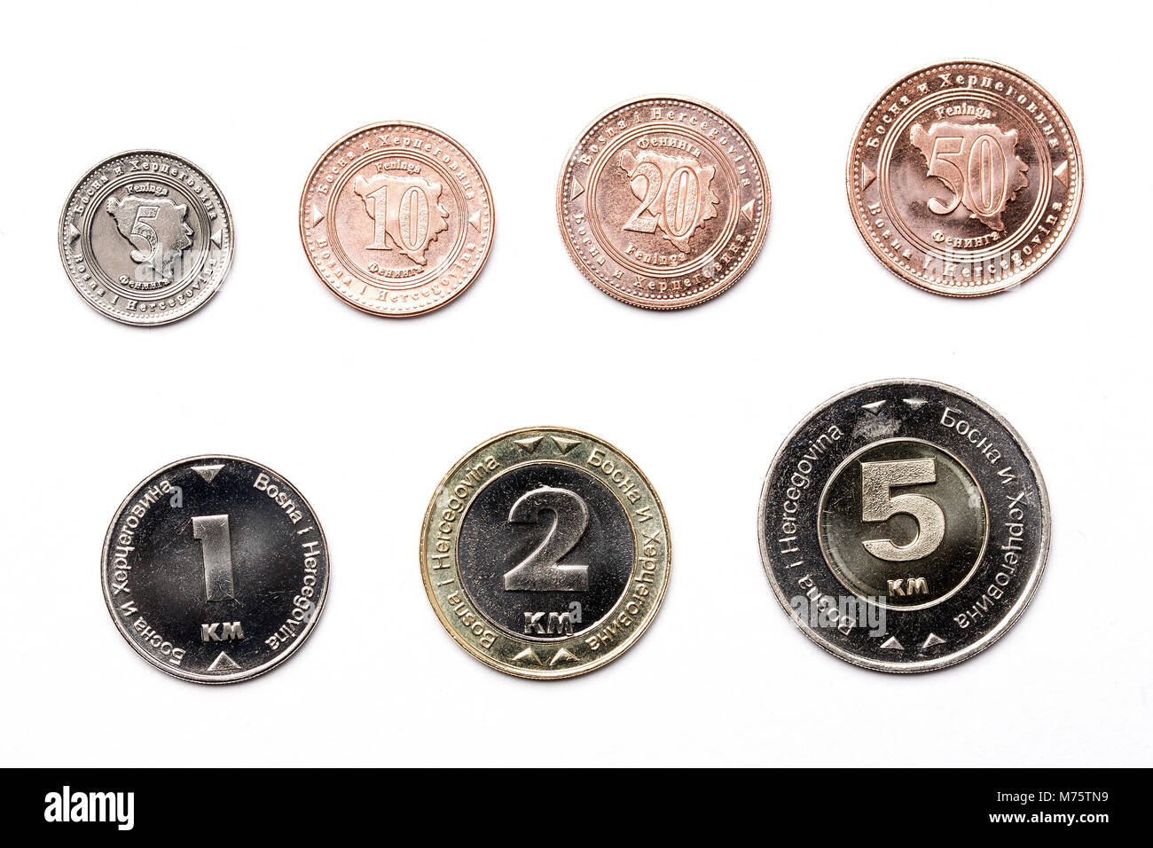 Coins from Bosnia and Herzegovina on a white background - Stock Image