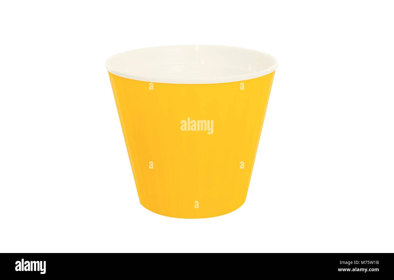 Bucket for transplanting flowers. Isolated on white background. - Stock Image