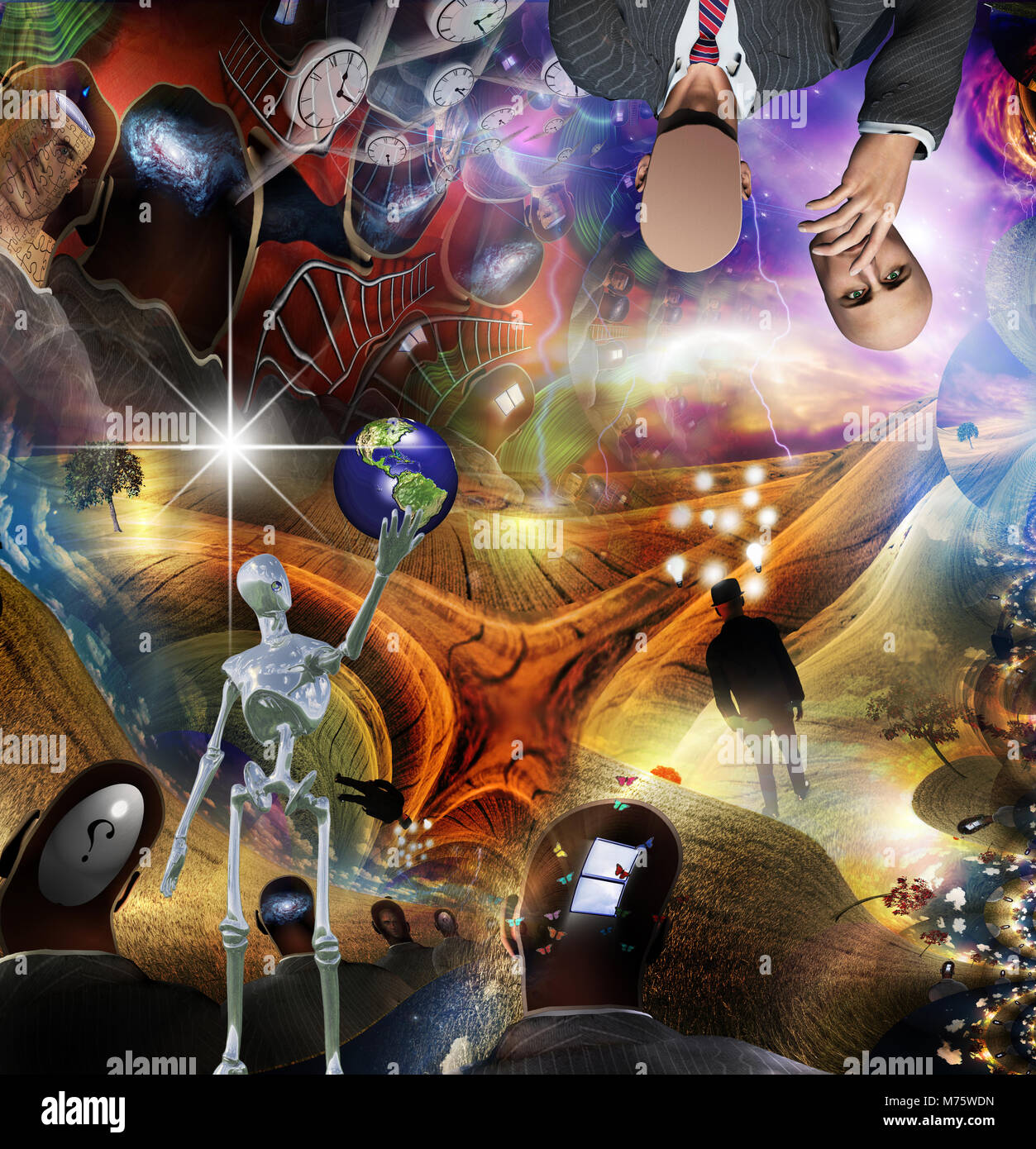 Visionary Abstract. Alien robot holds planet Earth. Winged clocks represents flow of time. - Stock Image