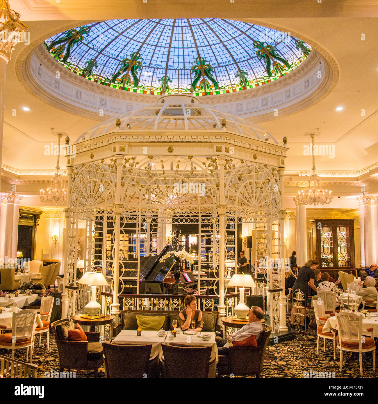 Dining room the Savoy Hotel, a world famous and exclusive hotel situated on the banks of the River Thames, London - Stock Image