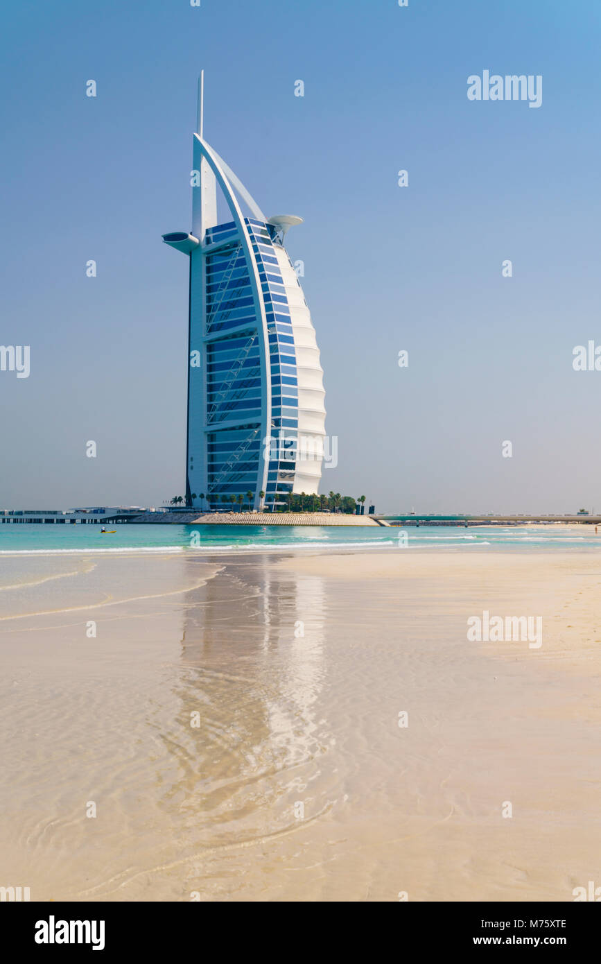 Burj Al Arab, Jumeirah Beach, Dubai, United Arab Emirates - Stock Image