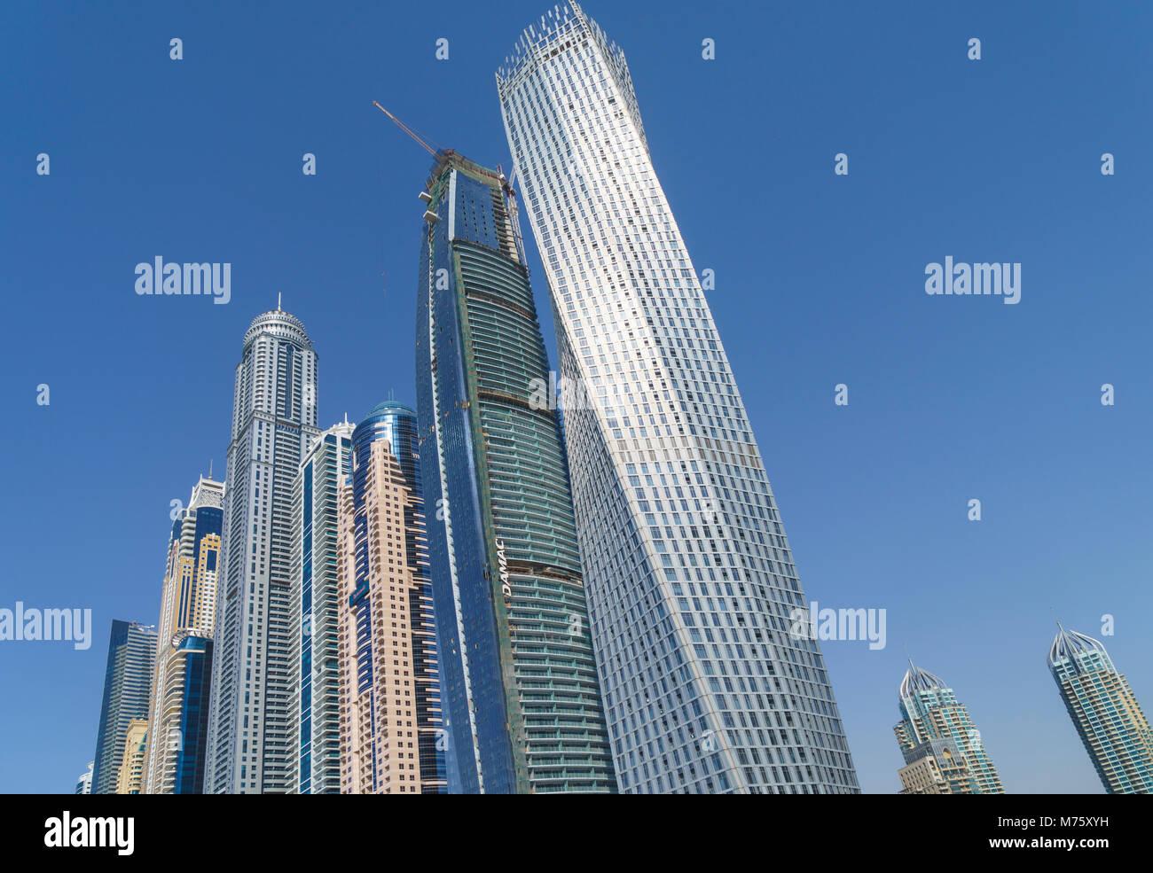 Cayan Tower, Dubai Marina, Dubai, United Arab Emirates - Stock Image