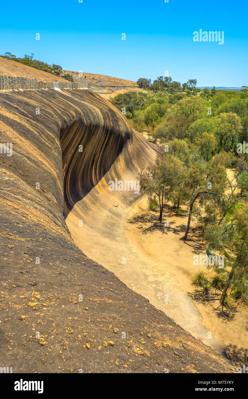 Aerial view from top of famous place of Wave Rock, Australian outback, near Hyden, Western Australia. The natural - Stock Image