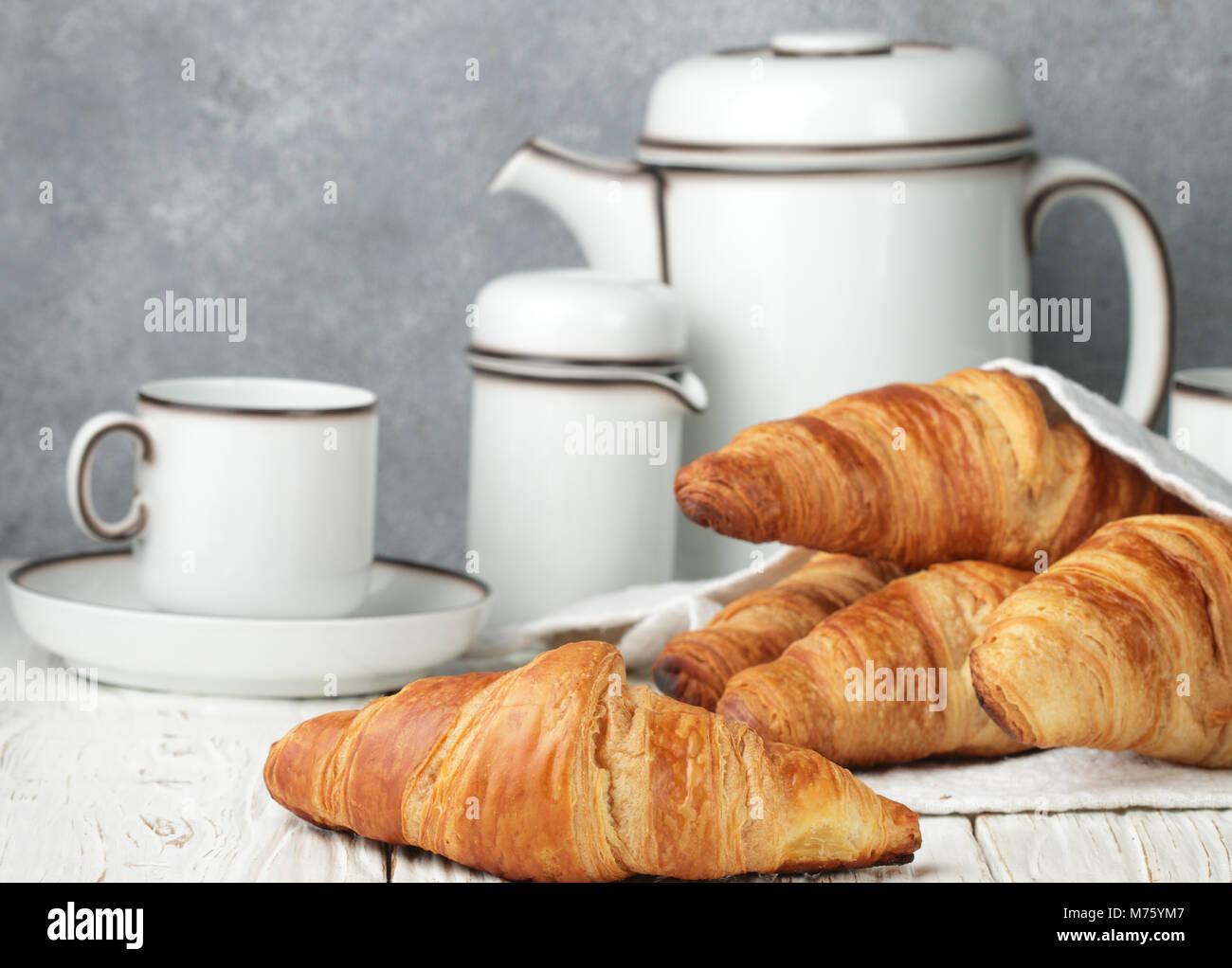 Freshly baked croissants for Breakfast. Selective focus - Stock Image