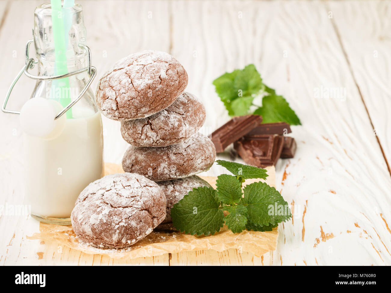 Chocolate Crinkles.  cookies with powdered sugar. Selective focus. Copy space Stock Photo