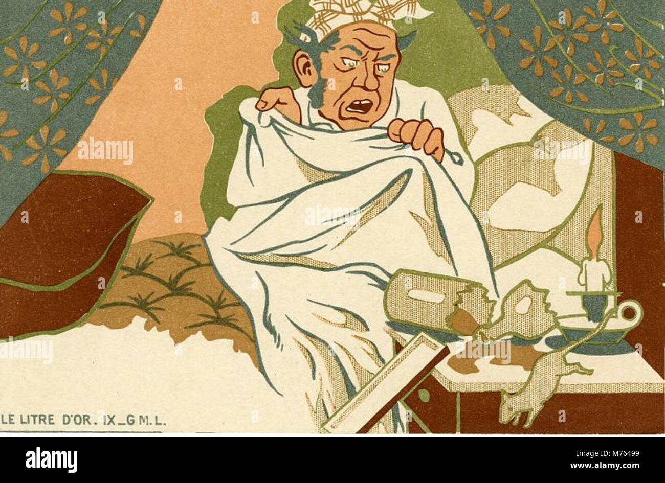 Le Litre D'or I GML 10 card cartoon series showing man retiring after putting his gold dust in a... (NBY 8101) - Stock Image
