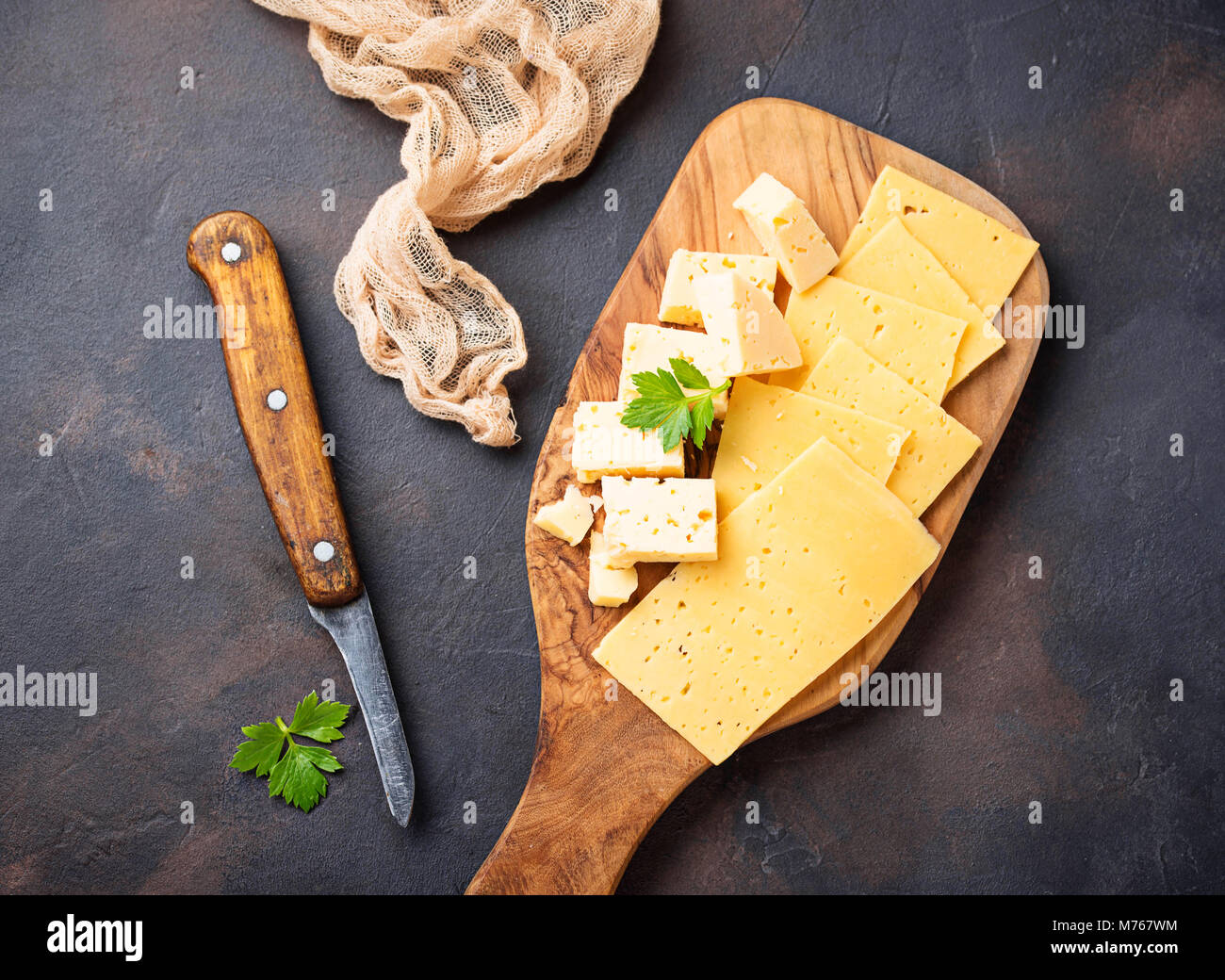 Various type of sliced cheese - Stock Image