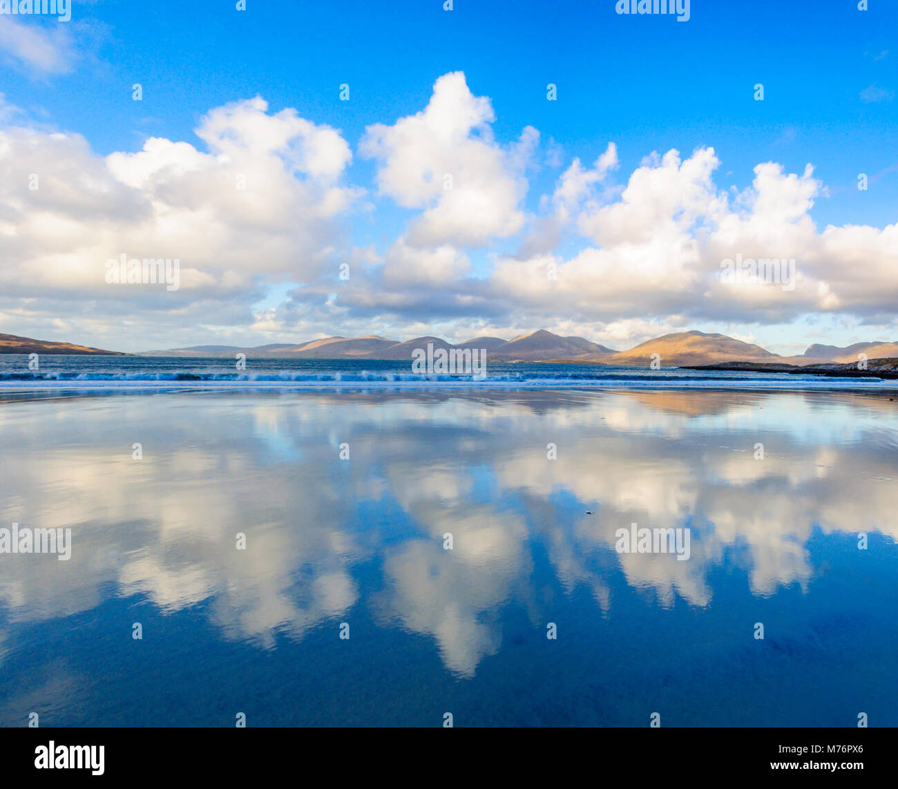 Luskentyre beach on the west coast of the Isle of Harris, Outer Hebrides, Scotland, UK on a bright sunny afternoon Stock Photo
