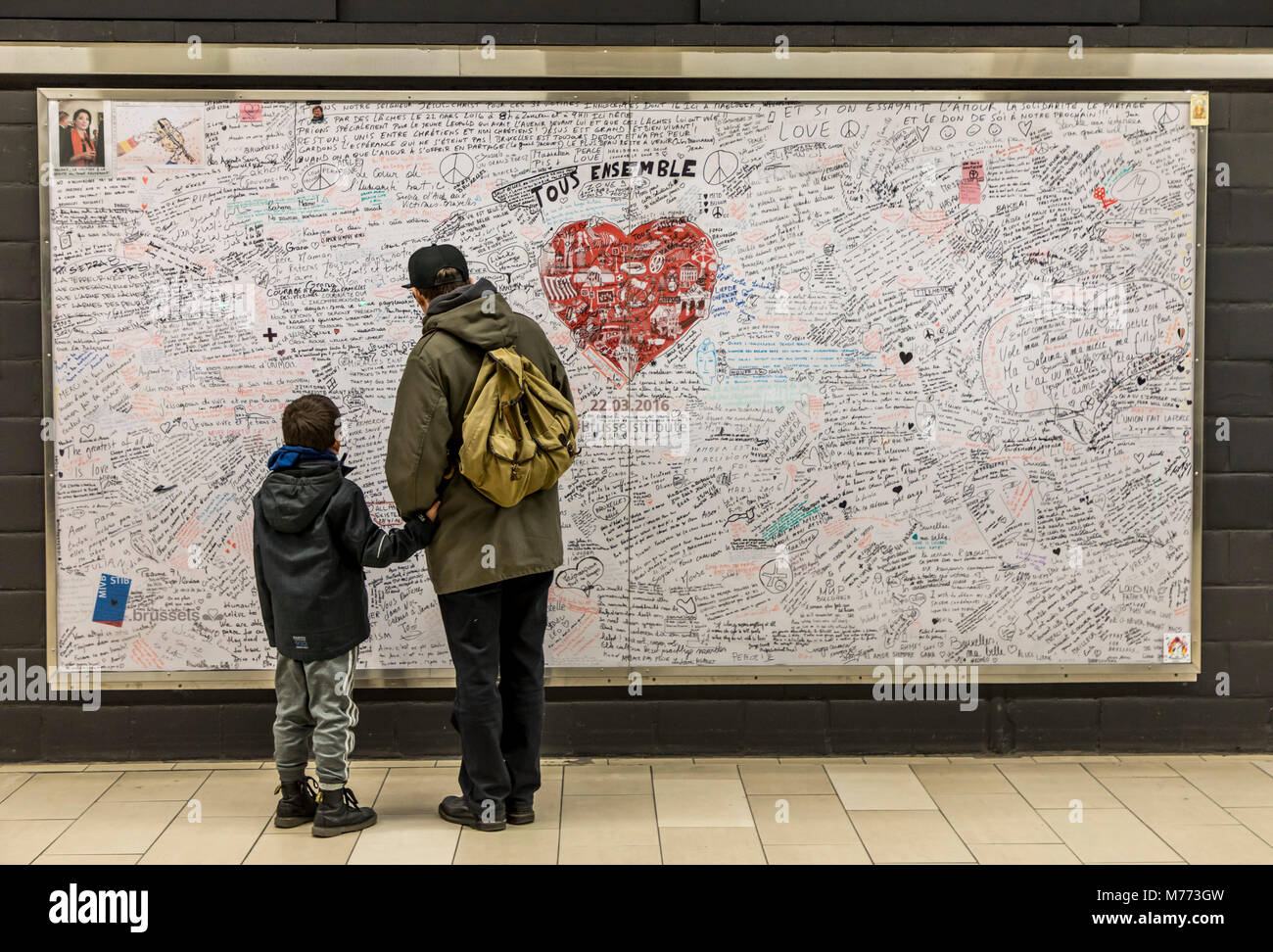 Memorial, commemorative plaque, for victims of terrorism in Maelbeek subway station, Maalbeek, in which 20 people - Stock Image